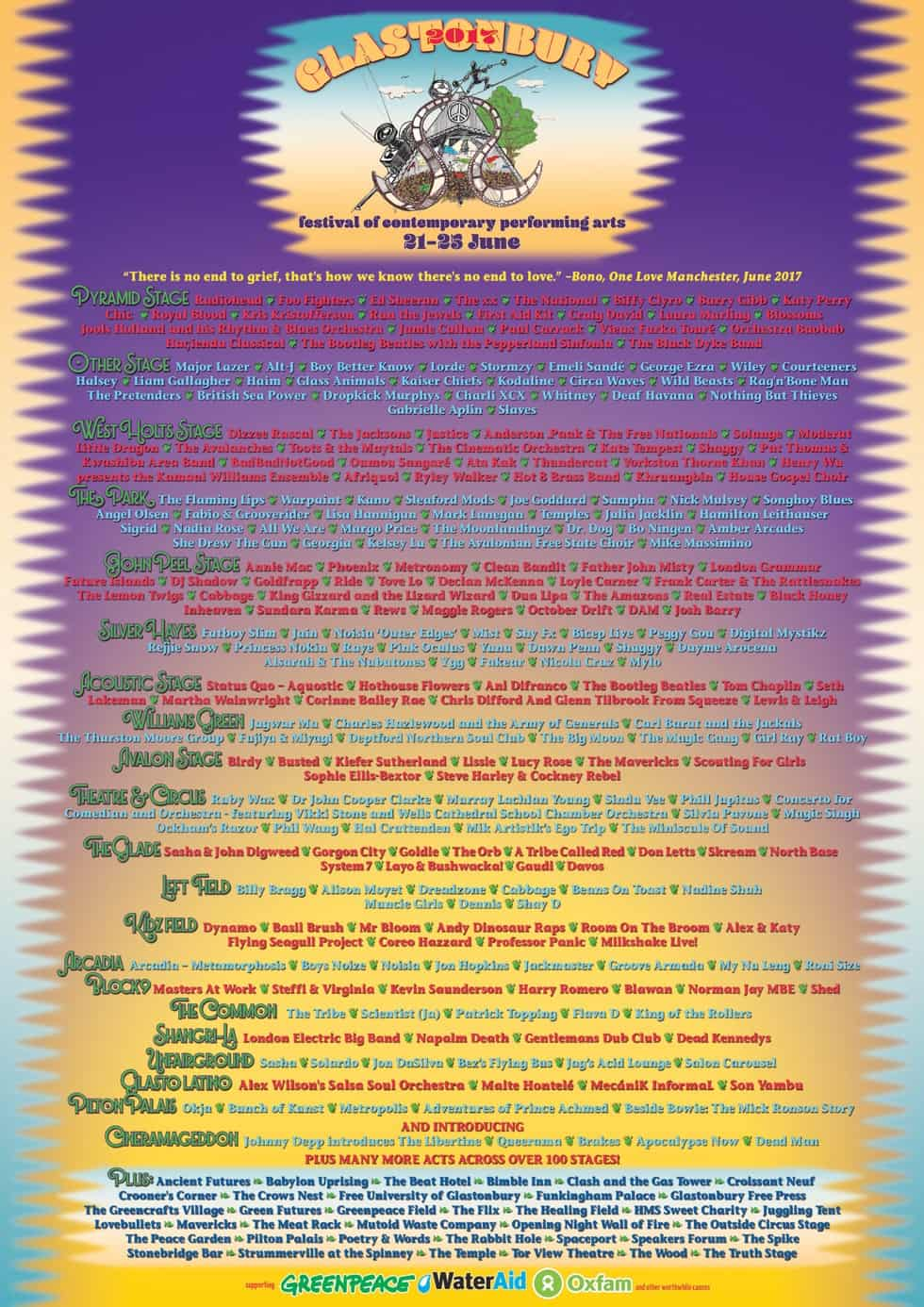 Full LineUp Poster Glastonbury - Festival 2017