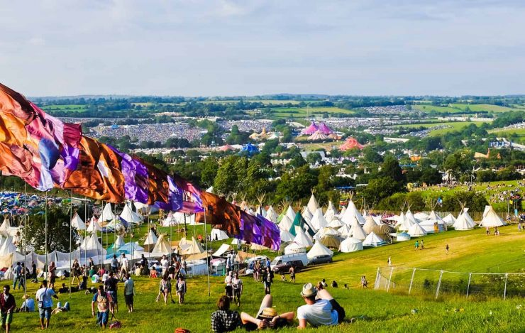 glastonbury festival top of the hill flags